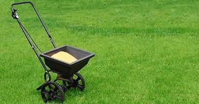 fertilizer spreader on lawn